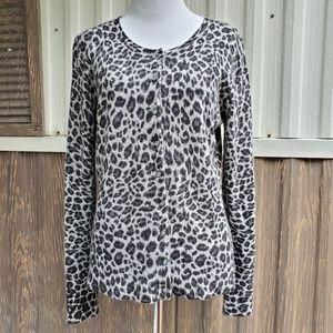 Apt. 9 cheetah 100% cashmere cardigan sweater M